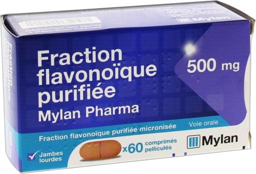 Prix de Fraction flavonoïque purifiée 500mg Mylan 60cp