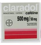 CLARADOL Caféiné - Anti-Douleurs et Fièvre - Effervescent - 16 comprimés de 500 mg