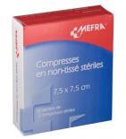 MEFRA - Compresses Non Tissé Stériles 7,5 x 7,5 cm - 20 compresses