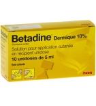Bétadine Dermique 10 % - Solution usage local - 10 unidoses de 5 ml