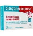 BISEPTINE - Compress - Nettoyage des Plaies Superficielles - 8 sachets