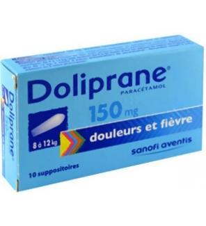 doliprane 150 mg 10 suppositoires base de parac tamol m dicaments anti douleurs sans. Black Bedroom Furniture Sets. Home Design Ideas