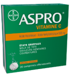 ASPRO - VITAMINE C - Douleurs et Courbatures - 20 comprimés Effervescents de 500 mg