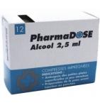 Compresses Antiseptiques Imprégnées d'Alcool 2.5 ml  - 12 sachets