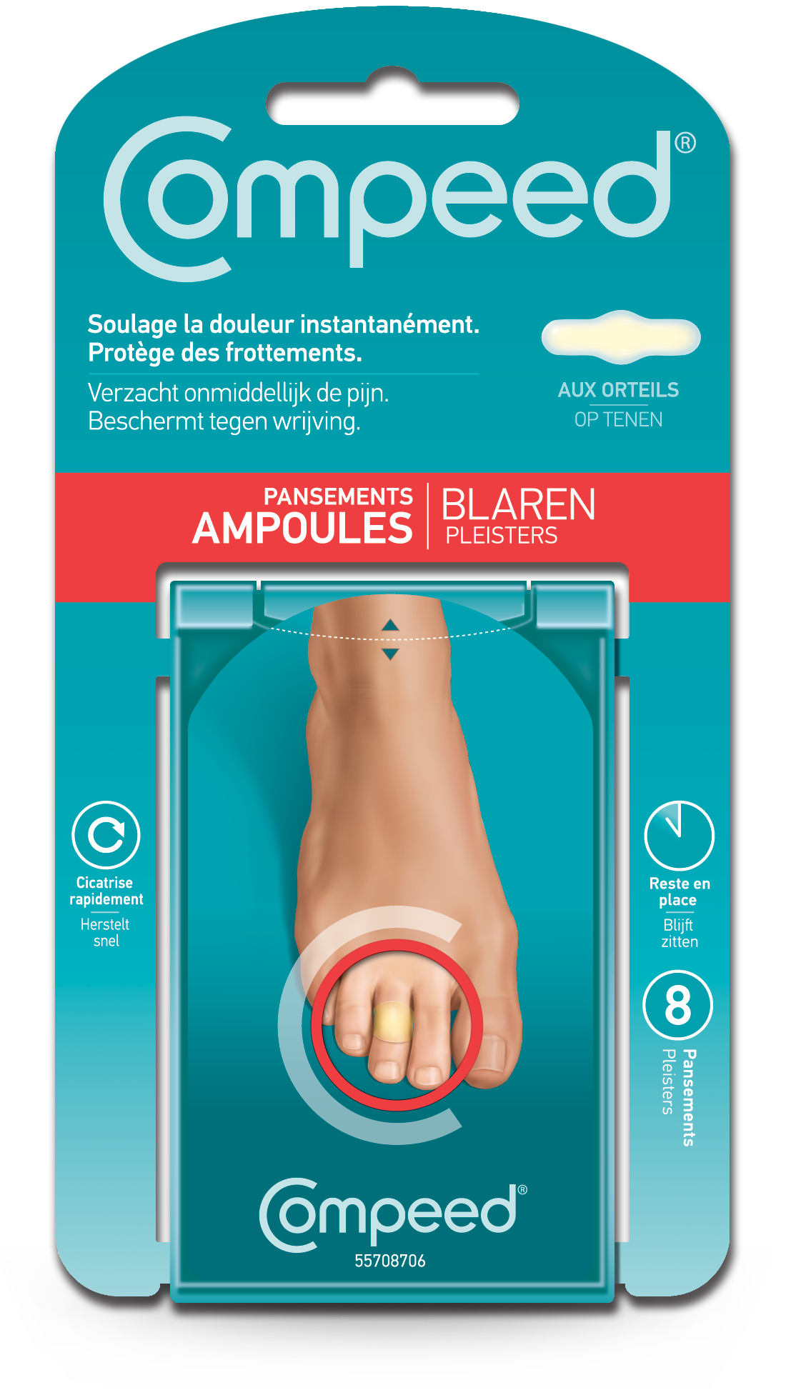 prix de compeed ampoules aux orteils x8 pansements. Black Bedroom Furniture Sets. Home Design Ideas