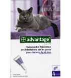 ADVANTAGE 80 - Anti-puces pour Chat et Lapin de 4 kg et plus - 4 pipettes de 0,8 ml